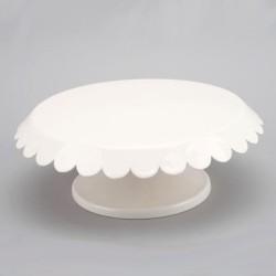 Tårtfat på fot, vit (metall)