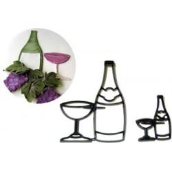 Flaska och glas, 2 st utstickare/embossers