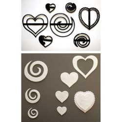 Swirls and Hearts, 6 st utstickare/embossers