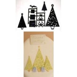 Julgranar och paket, 10 st utstickare/embossers