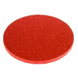 Röd, rund tårtbricka (ca 25 cm)