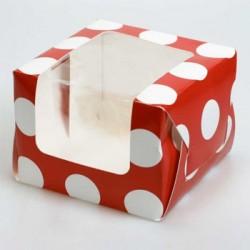 Polka Dot (röd),  ask för 1 muffin (25 st)