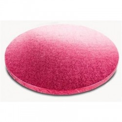 Cerise-rosa, rund tårtbricka (ca 25 cm)