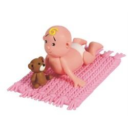 Baby på filt, rosa tårtdekoration