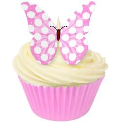 Babyrosa polka, 12 st ätbara fjärilar
