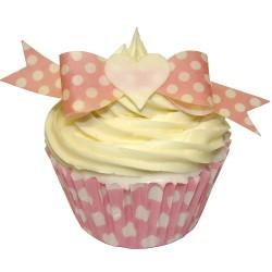Rosett - rosa polka, 12 st ätbara dekorationer