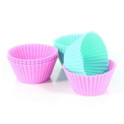 Muffinsformar i silikon, 8 st (rosa och blå)