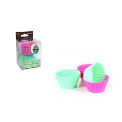 Muffinsformar i silikon, 8 st (gröna och rosa)
