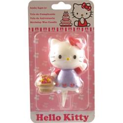 Hello Kitty med blomkorg, tårtljus
