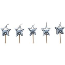 Stjärnor, 5 st silverfärgade tårtljus