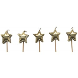 Stjärnor, 5 st guldfärgade tårtljus