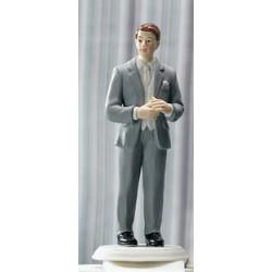 Brudgum i grå kostym