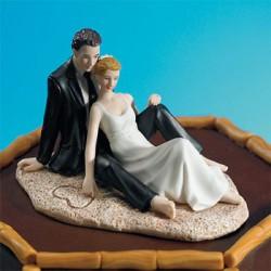 Brudpar, romantik på stranden