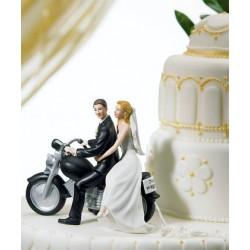 Brudpar, nygifta på MC