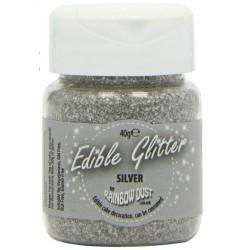 Silver, ätbart glitter (40g)