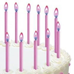 Rosa tårtljus med rosa ljusflamma, 12 st