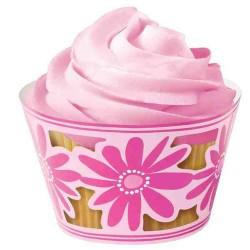 Pink Flower, 18 st cupcake wraps