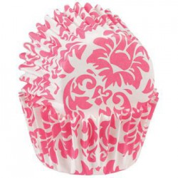 Pink Damask, 100 st små muffinsformar