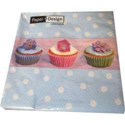 Cupcakes Blue Dot, 20 st servetter