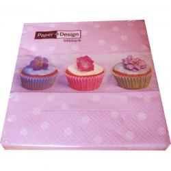 Cupcakes Pink Dot, 20 st servetter