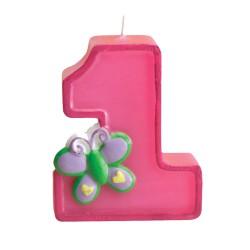 1, tårtljus med fjäril (rosa)