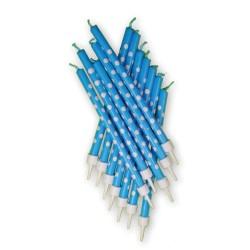 Blåa tårtljus med prickar, 12 st