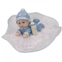 Baby med nappflaska, blå