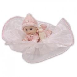 Baby med nappflaska, rosa