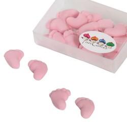 Rosa babyfötter, 8 par (sugarpaste)