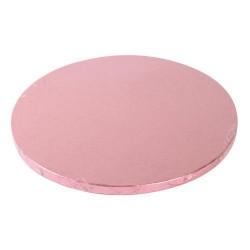 Ljusrosa, rund tårtbricka (ca 25 cm)