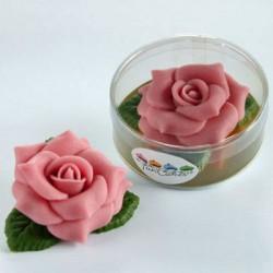 Marsipanros med blad, rosa