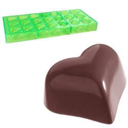 Hjärta, pralinform (grön, hård plast)