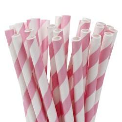 Randiga, rosa-vita sugrör