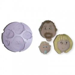 Ansikten, 5 olika (silikonform)
