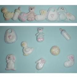 Babysaker, bård (silikonform)