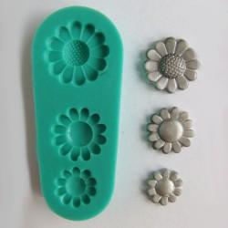Blommor (3 st), silikonform
