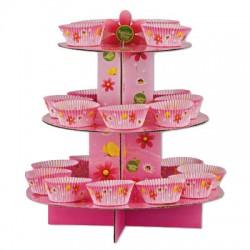 Pretty Pink Flower, muffinsformar, picks och muffinsträd