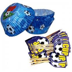 Fotboll, 50 st muffinsformar och picks (blå)