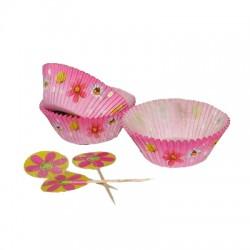Pink Flower, 50 st muffinsformar och picks