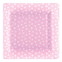 Baby Pink Polka Dots, 8 st tallrikar