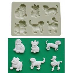 Hundar (6 olika), silikonform