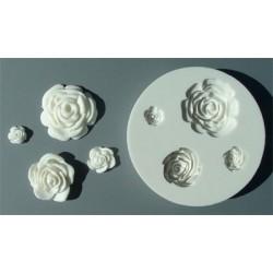 Rosor (4 st), silikonform