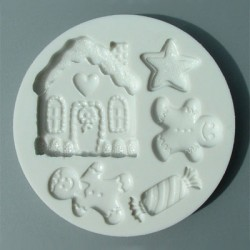 Pepparkaksmotiv (5 olika), silikonform
