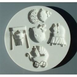 Flickebarn (5 motiv), silikonform