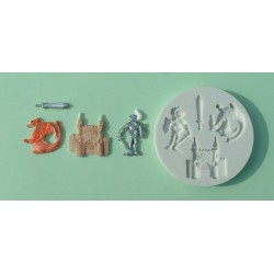 Riddarmotiv (4 olika), silikonform