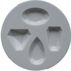 Ädelstenar (4 st), silikonform