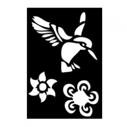 Kollibri o blommor, schablon