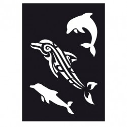Delfiner, schablon