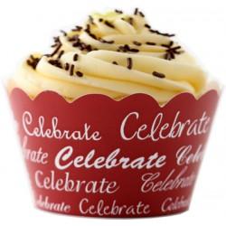 Celebrate (vit/röd), cupcake wraps