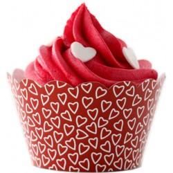 Heart liners (vit/röd), cupcake wraps